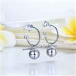 Dangle Balls Solid 925 Sterling Silver Earrings