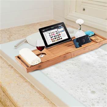 Bamboo Bathtub Extendable Sides Caddy Tray with Soap Dish