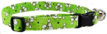 GREEN HAWAIIAN FLOWERS CAT COLLAR