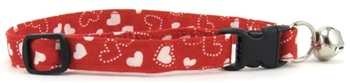 RED & WHITE HEARTS CAT COLLAR