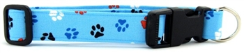 Aqua Red, White & Blue Paws Dog Collar