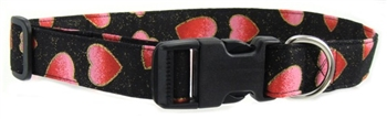 BLACK GLITTER HEARTS DOG COLLAR