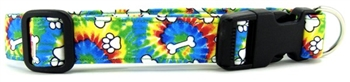 RAINBOW TIE DYE BONES AND PAWS DOG COLLAR