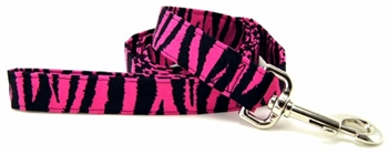 HOT PINK ZEBRA DOG LEASH