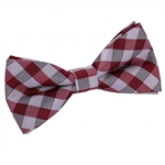 Dark Red Gingham Check Bow Tie