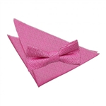 Fuchsia Pink Greek Key Patterned Bow Tie 2 pc. Set