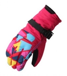 Winter Ski Gloves Women Waterproof Gloves Couple Style Stitching Gloves Rose Red