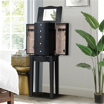 Wood Mirrored Jewelry Storage Chest Cabinet