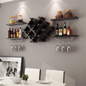Set of 5 Wall Mount Wine Rack Set w/ Storage Shelves