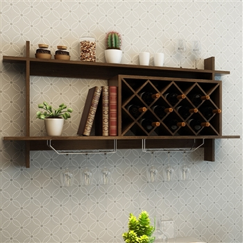 Wall Mount Wine Rack with Glass Holder & Storage Shelf