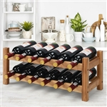 2-Tier 12 Bottles Bamboo Storage Shelf Wine Rack