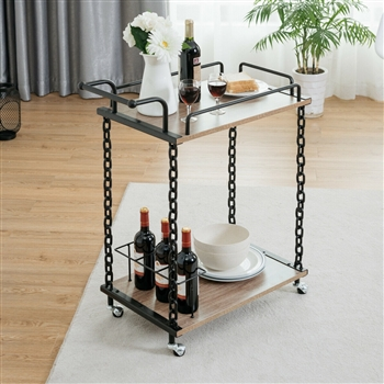 2-Tier Rolling Kitchen Bar Serving Cart