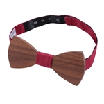 Tango Red Panama Silk Walnut Wood Bow Tie