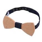 Navy Blue Panama Silk Beech Wood Bow Tie