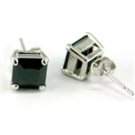 Hip Hop Black Square 7mm CZ Simulated Cubic Zirconia Stud Mens