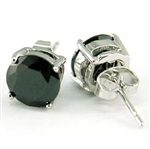Hip Hop Black Round 8mm Cubic Zirconia Stud Mens Earrings