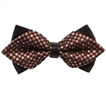 Brown Dragee Dots Diamond Tip Bow Tie