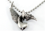 Gothic Flying Rings w/ Heart Stainless Steel Mens Pendant Necklace