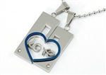 Love Theme Pair Lover Set Steel Cubic Zirconia Mens Pendants Necklace