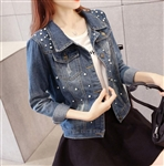 Womens Denim Jacket with Pearls