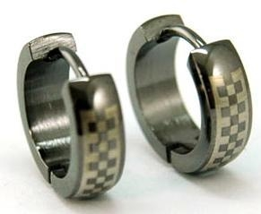 Black Checkered Stainless Steel Hoop Mens Earrings