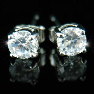 Cubic Zirconia Stud 18K White Gold Plated 6 mm Mens Earrings