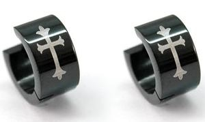 Black Gothic Cross Stainless Steel Huggie Mens Earrings