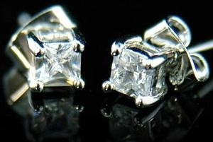 6 mm Cubic Zirconia Stud 18K White Gold Plated Mens Earrings