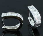 Cubic Zirconias Studs 18k White Gold Plated Mens Earrings