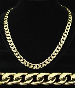 "24"" x 11mm Hip Hop 18K Gold Plated Curb Links Mens Necklace"