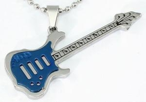 Blue Guitar Music Instrument Stainless Steel Mens Pendant Necklace