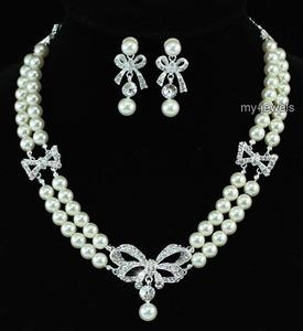 Bridal Ribbon Ivory Faux Pearl Necklace Set