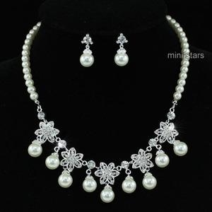Bridal Wedding Flower Cream Ivory Faux Pearl Necklace Set