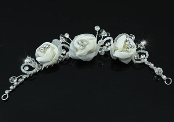Bridal Flexible Ivory Satin Rose Hair Flowers