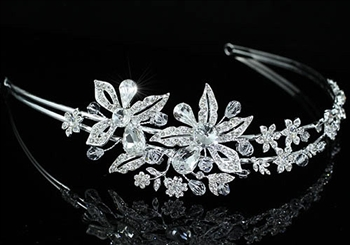 Bridal High Quality Clear Crystal Flower High Quality Tiara