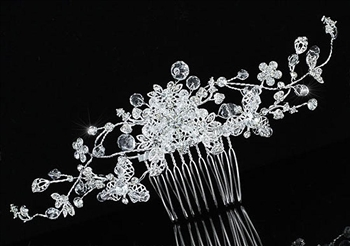 Bridal Wedding Flower Sparkling Long Flexible Hair Comb Slide