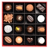 Luxury Gift Box of 16 handmade bonbons and truffles: Classic Collection, containing the classics: Classic Dark Chocolate Truffles, Milk Chocolate Bonbons, Almond Rochers, Coconut Truffles, Raspberry Hearts, and Noir.
