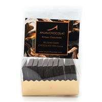 Pack of 10 Chocolate Tasting Squares: Dark Chocolate, made using Belgian dark chocolate couverture, 70% cocoa solids.