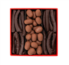 Chocolate Coated Fruit & Nuts' Gift Box : contains orange peel coated with 70% dark chocolate, or orangettes, and, almond dragees in semisweet chocolate, with a dusting of cocoa powder.
