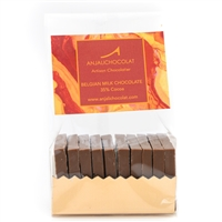 Pack of 10 Chocolate Tasting Squares: Milk Chocolate, made using Belgian milk chocolate couverture, 35% cocoa solids.