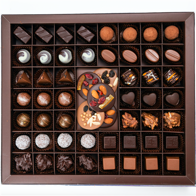 Luxury Gift Box of 50 handmade bonbons and truffles: Classic Collection, containing the classics: Classic Dark Chocolate Truffles, Milk Chocolate Bonbons, Almond Rochers, Coconut Truffles, Raspberry Hearts, and Noir.