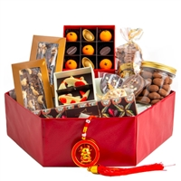 Chinese New Year Good Luck Hamper. Includes an assortment of 10 different artisanal chocolate products for good luck this lunar new year