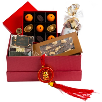 Chinese New Year Happiness Hamper. Includes an assortment of different artisanal chocolate products to wish happiness this lunar new year