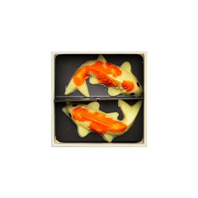 Chinese New Year Gift Set of 2 White Chocolate Koi Fish.  Made with creamy Belgian white chocolate couverture.