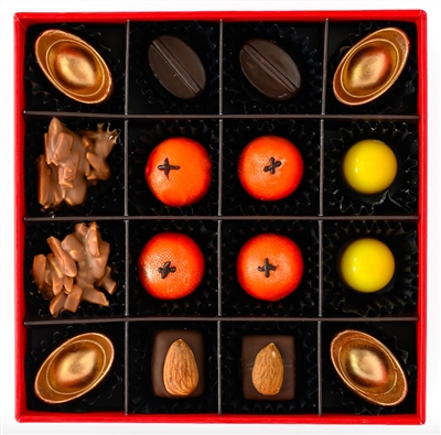 Chinese New Year 2020 Chocolate Gift Set of 16 bonbons and truffles, including 8 flavours inspired by the lunar new year: Mandarin Orange, Pineapple, Jasmine, Mango Pudding, Sesame, Gold Ingots, Almond and Cherry
