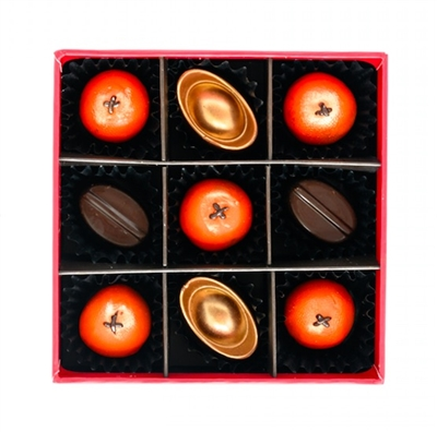 Chinese New Year 2020 Chocolate Gift Set, comprising of Chinese New Year Inspired flavours including Mandarin Orange, Pineapple, Mango Pudding, and Gold Ingots.