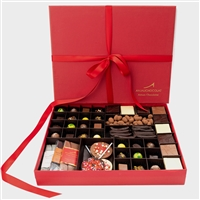 Artisanal Chocolate Platter: large gift box containing an assortment of our chocolate products: 27 handmade bonbons / truffles, chocolate bars, orangettes, chocolate lollipops, almond dragees, and chocolate tasting squares.