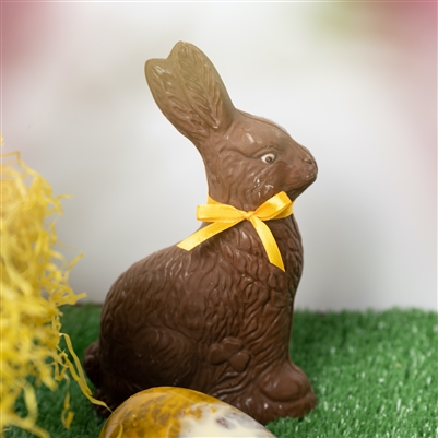 Easter Bunny available in white, milk or semisweet chocolate, made using Belgian couverture. Height 16cm. An Easter Classic.