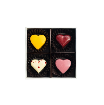 Valentine's Hearts Collection: Box of 4 bonbons / truffles