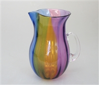 Four color blown glass pitcher